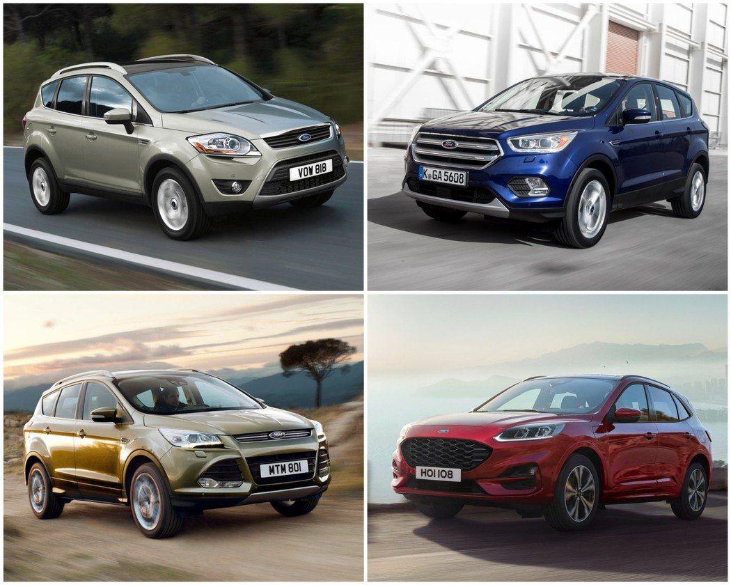 歷代Ford Kuga外型風格皆不同。 摘自Ford