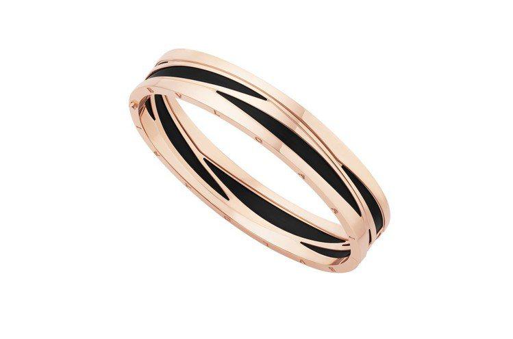 寶格麗B.zero1 Design Legend系列玫瑰金黑陶瓷手環,約34萬8...