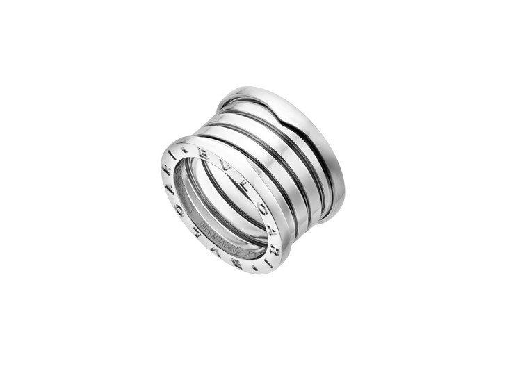 寶格麗B.zero1系列20周年紀念版白K金五環戒指,約73,500元。圖/BV...