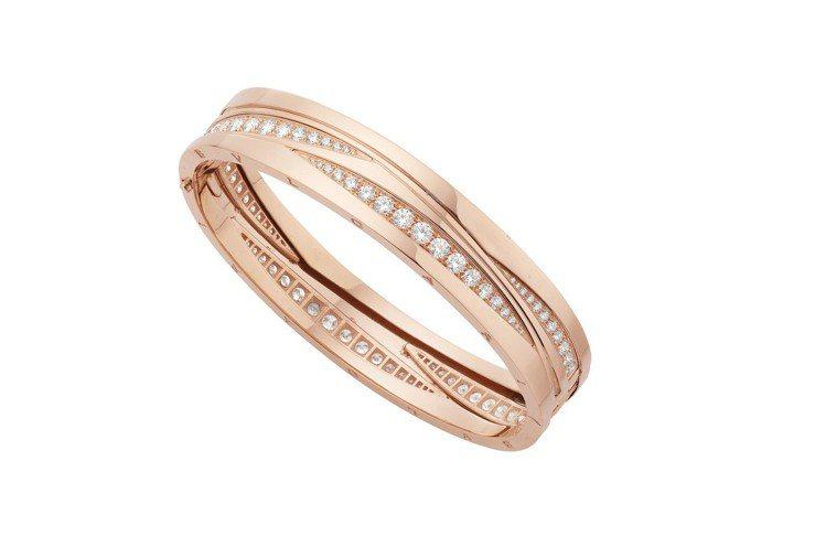 寶格麗B.zero1 Design Legend系列玫瑰金鑲鑽手環,價格未定。圖...