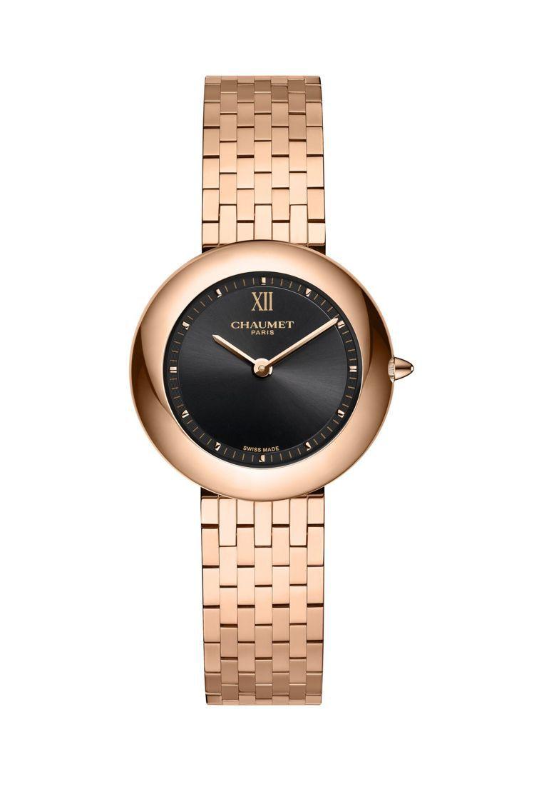 Boléro系列腕表,18K玫瑰金表殼、表鍊,表徑30毫米,黑色太陽紋拉絲表盤,...