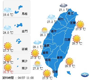 上午11點天氣狀況。圖/取自中央氣象局官網