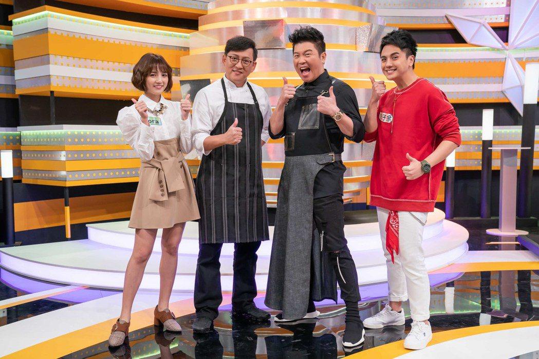 曾子余(右起)、曾國城、詹姆士、Dora成為「食尚」新班底。圖/TVBS提供