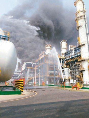 台塑麥寮六輕廠區台化芳香烴三廠昨天發生氣爆。 雲林縣府╱提供