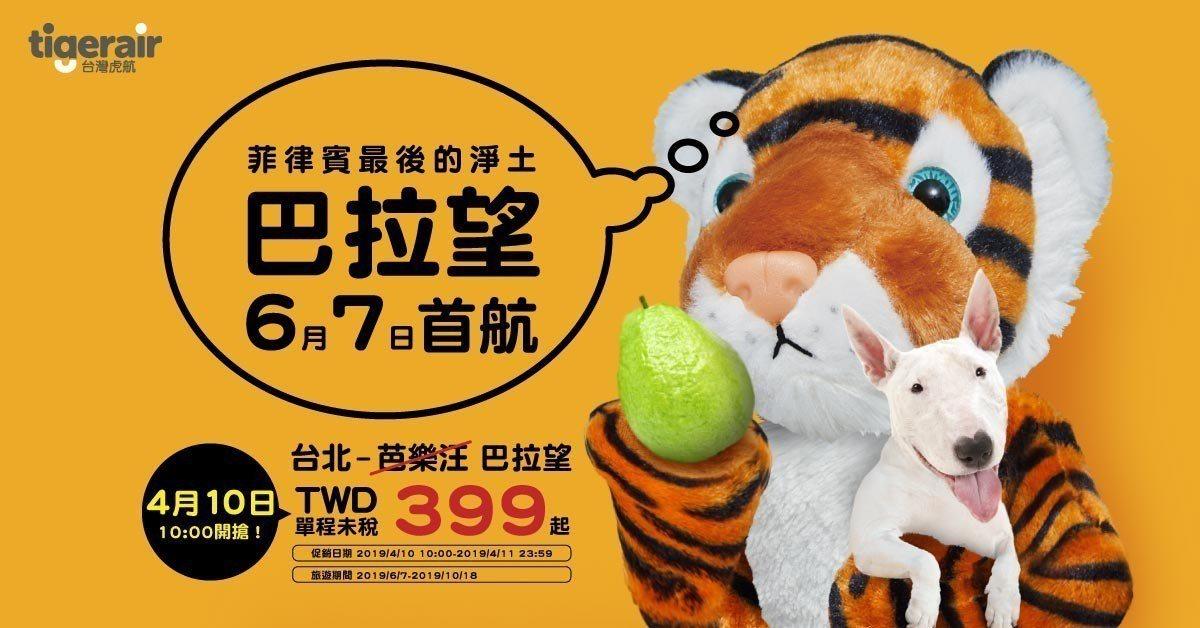 台灣虎航從4月10日起推出飛往巴拉望優惠機票,最低399元起。圖/台灣虎航提供