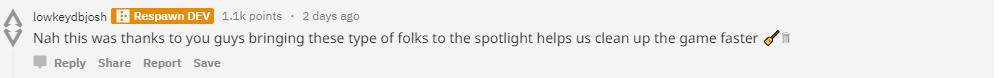Respawn開發者也感謝網友的熱心舉報/圖片截自Reddit