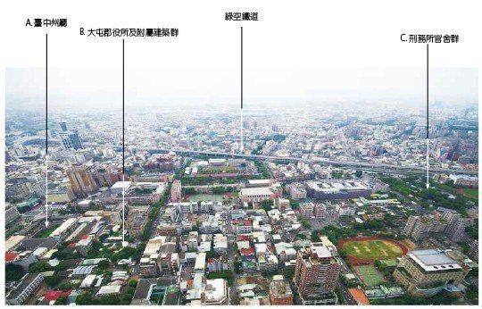 三大計畫範圍空拍照,綠空鐵道為串聯舊城區之重要軸帶。 【圖・文化資產處、社團法人...