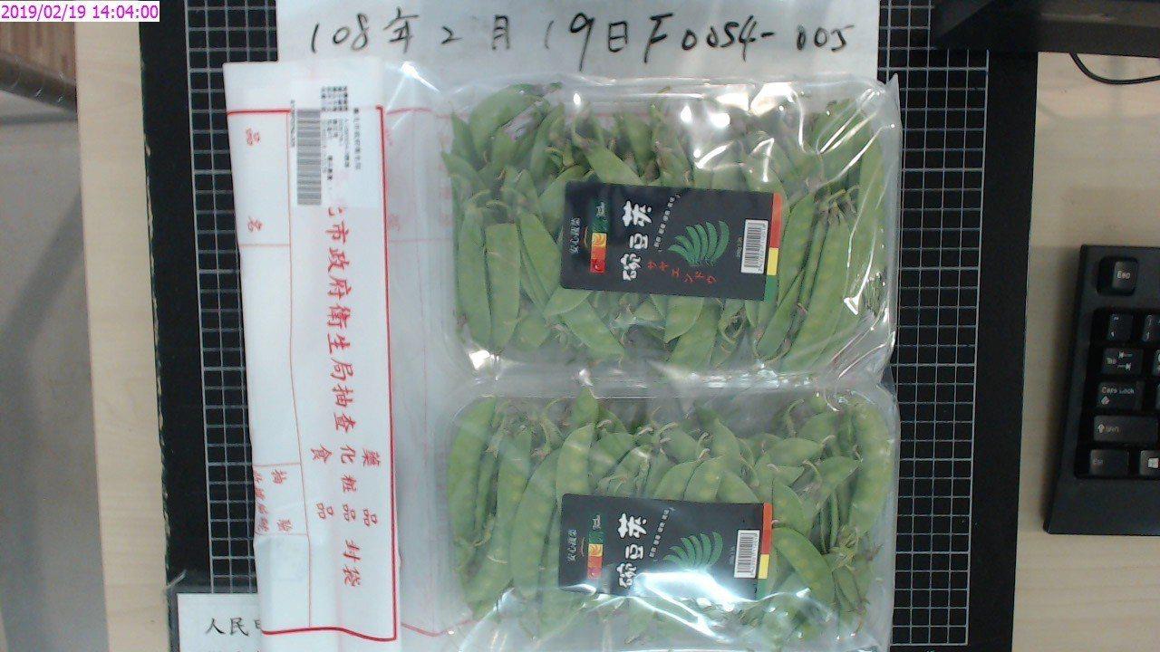 北市衛生局定期抽檢市場蔬果農藥殘留情況,今年2月首波檢驗50件,其中1件家樂福便...
