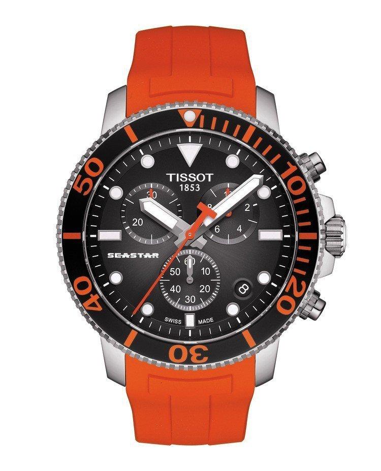 天梭Seastar 1000計時碼表,不鏽鋼表殼,採用石英機芯,約16,700元...