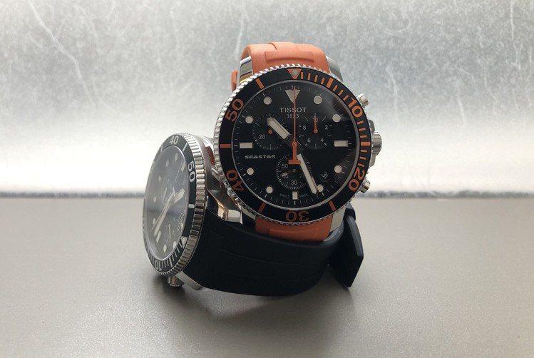 延續Seastar 1000的概念,天梭打造了表徑更大的石英機芯計時碼表款,同樣...