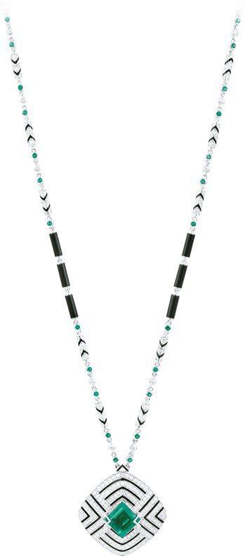 Galanterie de Cartier系列項鍊,白K金鑲嵌祖母綠、鑽石,價格...