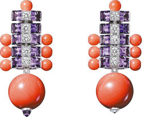 Coloratura系列頂級珠寶耳環,白K金鑲嵌珊瑚、紫水晶、鑽石,價格店洽。 ...