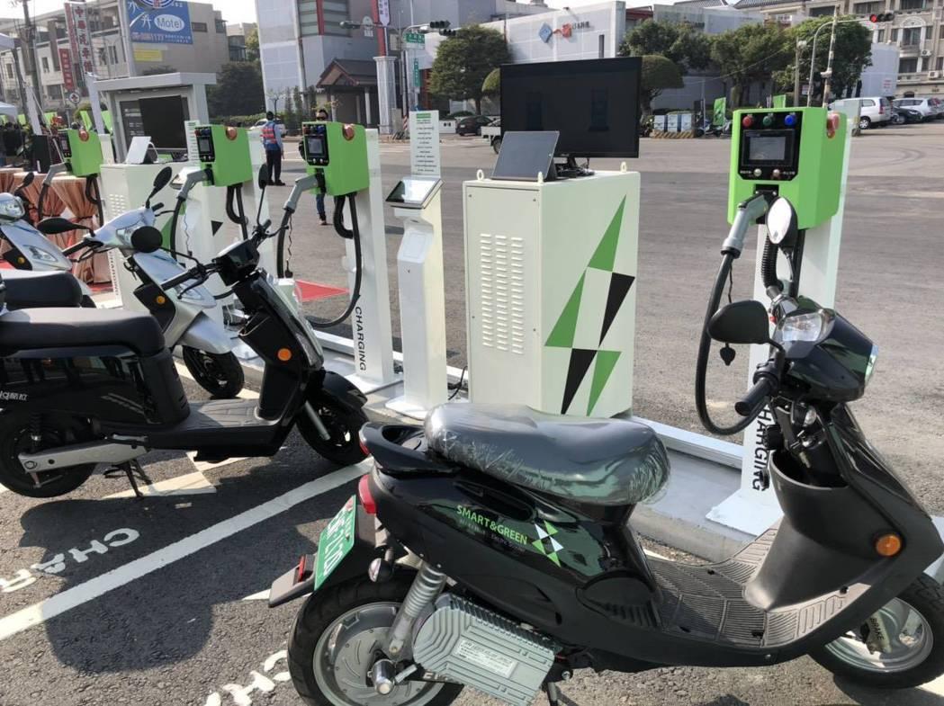 中油「智慧綠能加油站」嘉義示範站現場展示的電動機車及充換電設備。 圖/中油提供