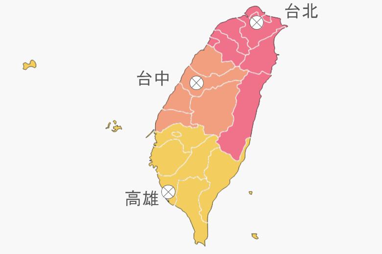 宜以全球城市台北、台中、高雄為中心,建立三個區域自治體。 圖/作者自製