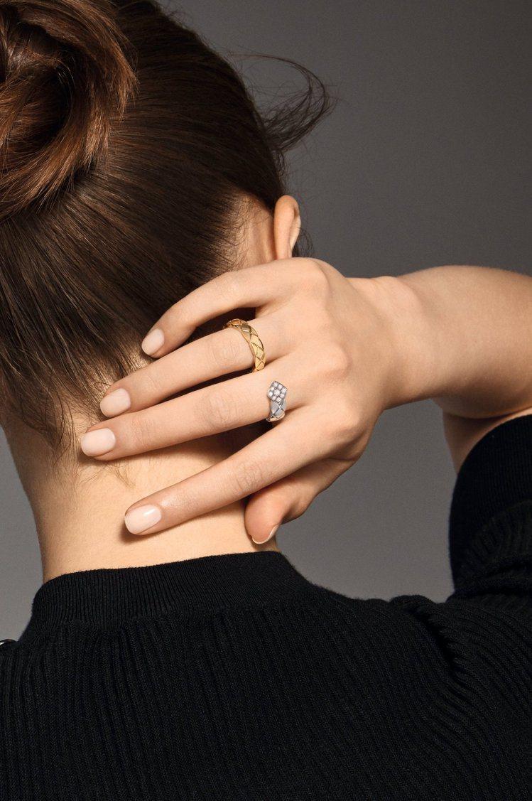COCO CRUSH 指間戒,18K白金與黃金鑲嵌18顆明亮式切割鑽石,21萬元...