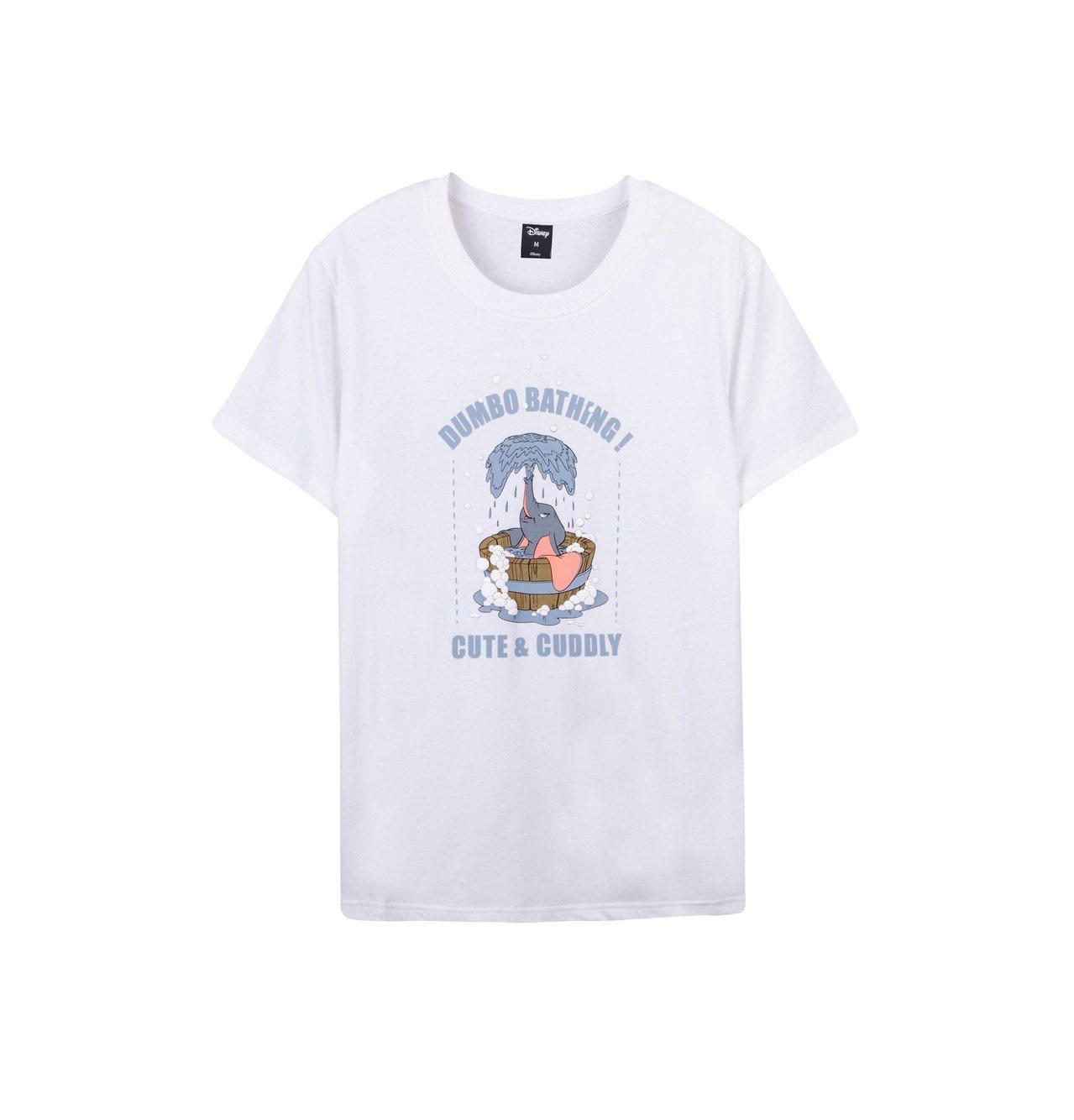 小飛象洗澡款Tshirt白色款,699元。圖/台灣華特迪士尼提供