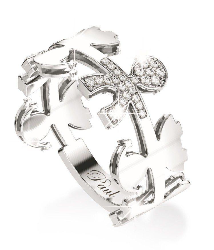 leBebé珍愛系列Garlands花環造型銀色18K金鑲鑽戒指,約46,20...