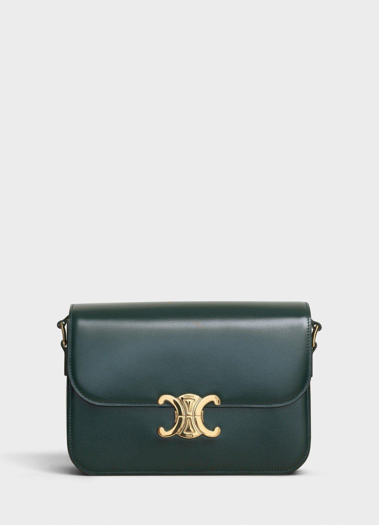 Triomphe亞馬遜綠光滑小牛皮中型肩背包,售價11萬5,000元。圖/CEL...