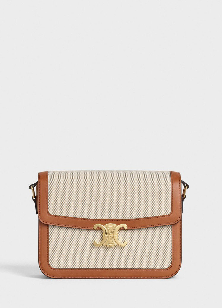 Triomphe織布黃褐色小牛皮大型肩背包,售價12萬5,000元。圖/CELI...