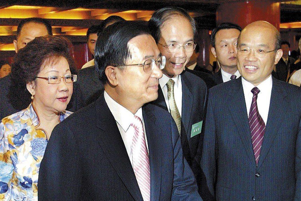 2007年民進黨總統初選,四大天王殺到刀刀見骨,前總統陳水扁(前)出面呼籲自制。...