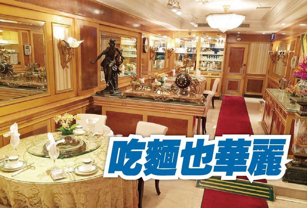 台南担仔麵海鮮餐廳的歐風華麗裝潢。圖/摘自台南担仔麵海鮮餐廳臉書