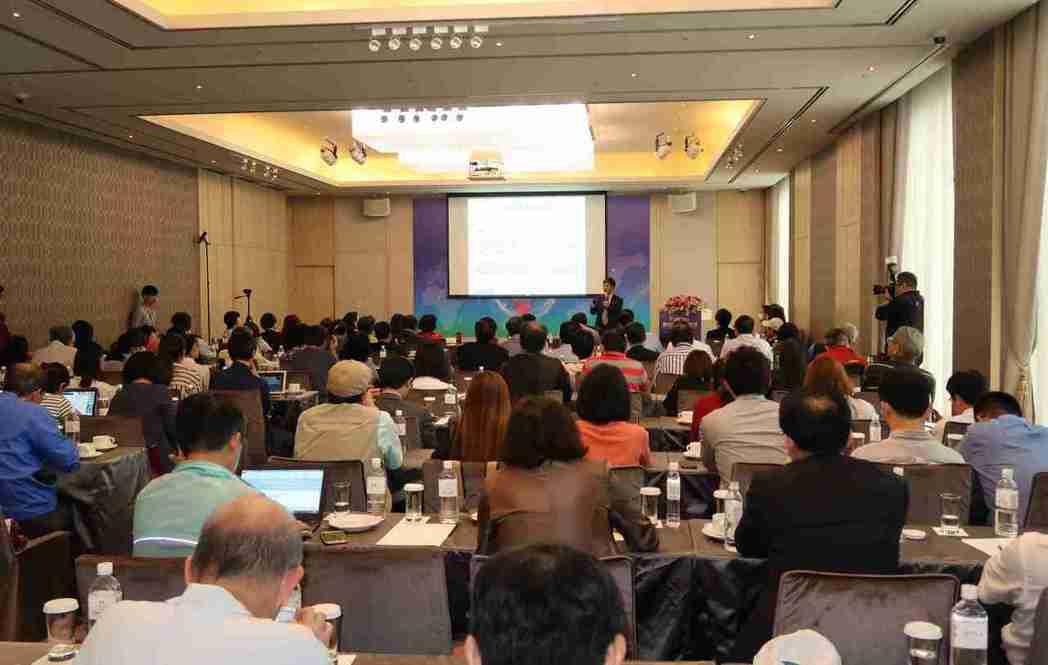 科技部部長陳良基主持專題演講,近200位政商領袖到場聆聽。 李炎奇/攝影
