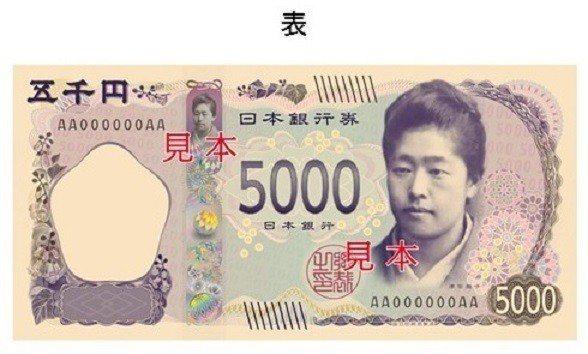日本財務省發表新日幣圖樣,五千元鈔正面肖像日本首位海外留學的女性津田梅子。圖/取...