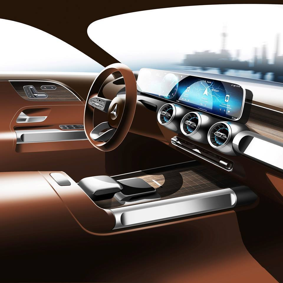 Mercedes-Benz Concept GLB內裝預告圖。 摘自Merced...