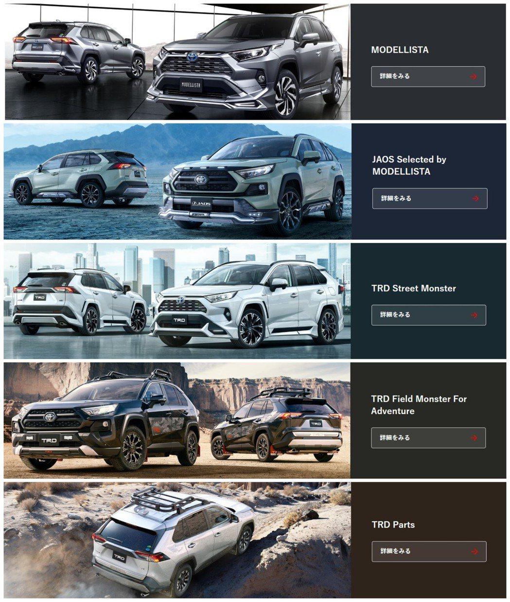 日規Toyota RAV4提供了相當多樣化的外觀套件供消費者選擇。 摘自Toyo...