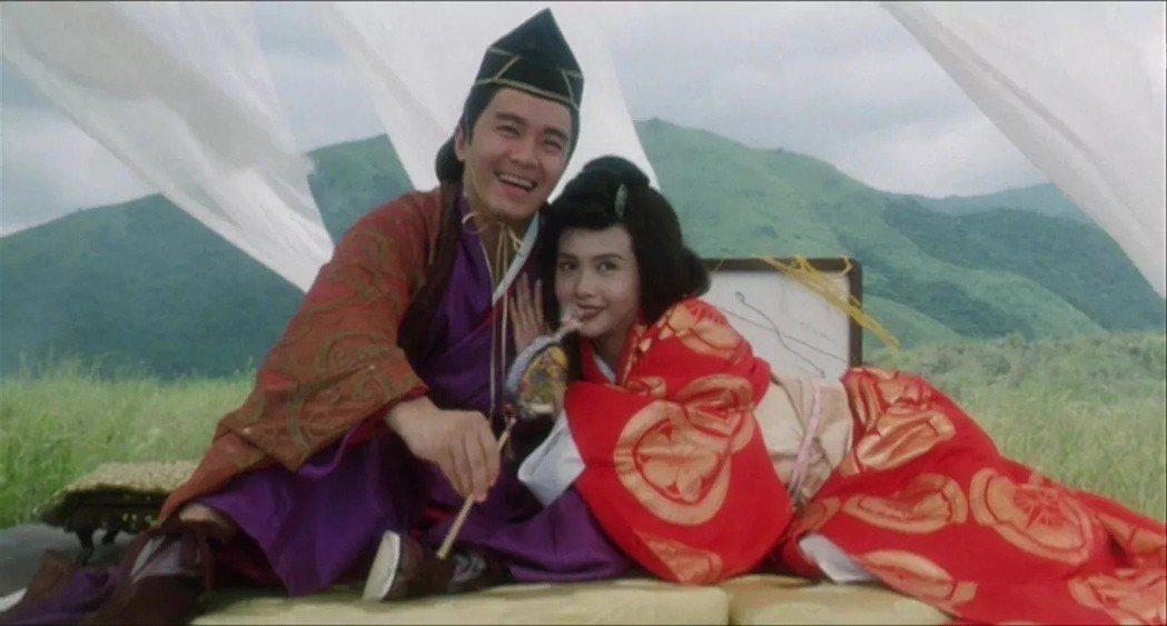 周星馳與邱淑貞在「鹿鼎記II神龍教」中諧仿「東方不敗」。圖/摘自imdb
