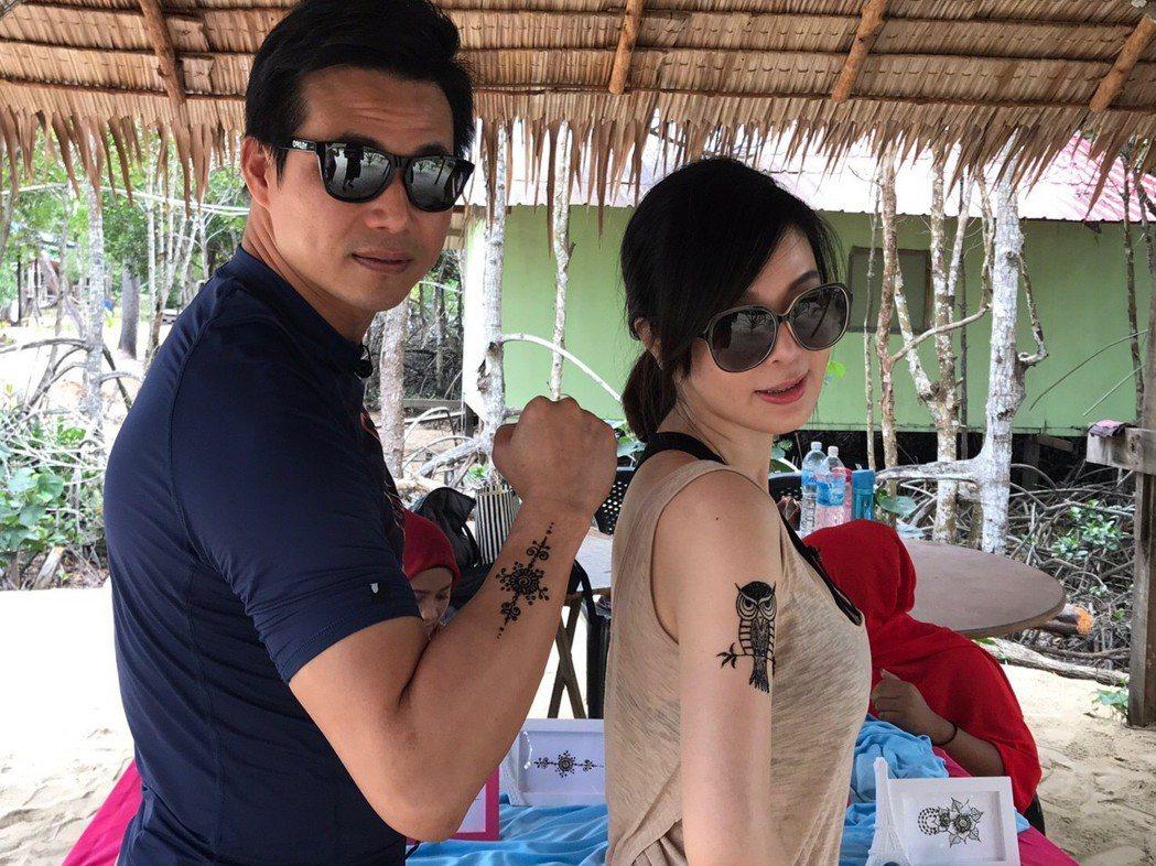Ivy和老公陳國華一起出外景。圖/亞洲旅遊台提供