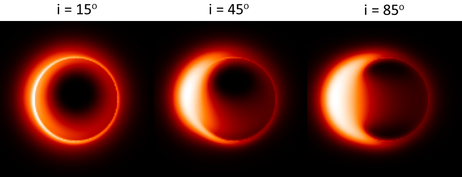 左圖為電腦模擬 M87 黑洞陰影,右圖是次毫米波特長基線干涉儀在格陵蘭望遠鏡加入...