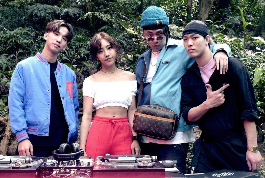 DinPei(左起)、蔡佩軒、Tipsy、趙志翰將合作演出。圖/非常棒提供