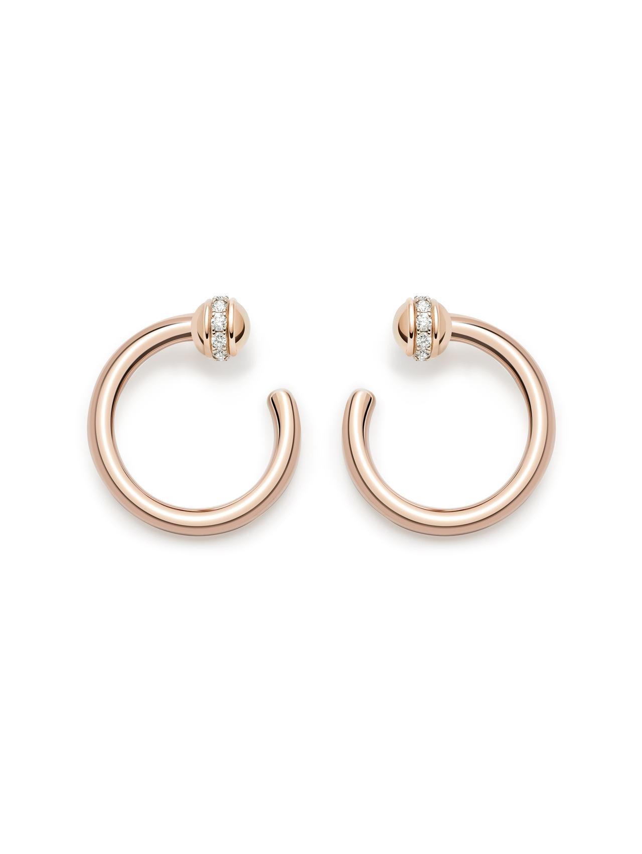伯爵Possession系列耳環,18K玫瑰金鑲嵌鑽石,12萬1,000元。圖/...