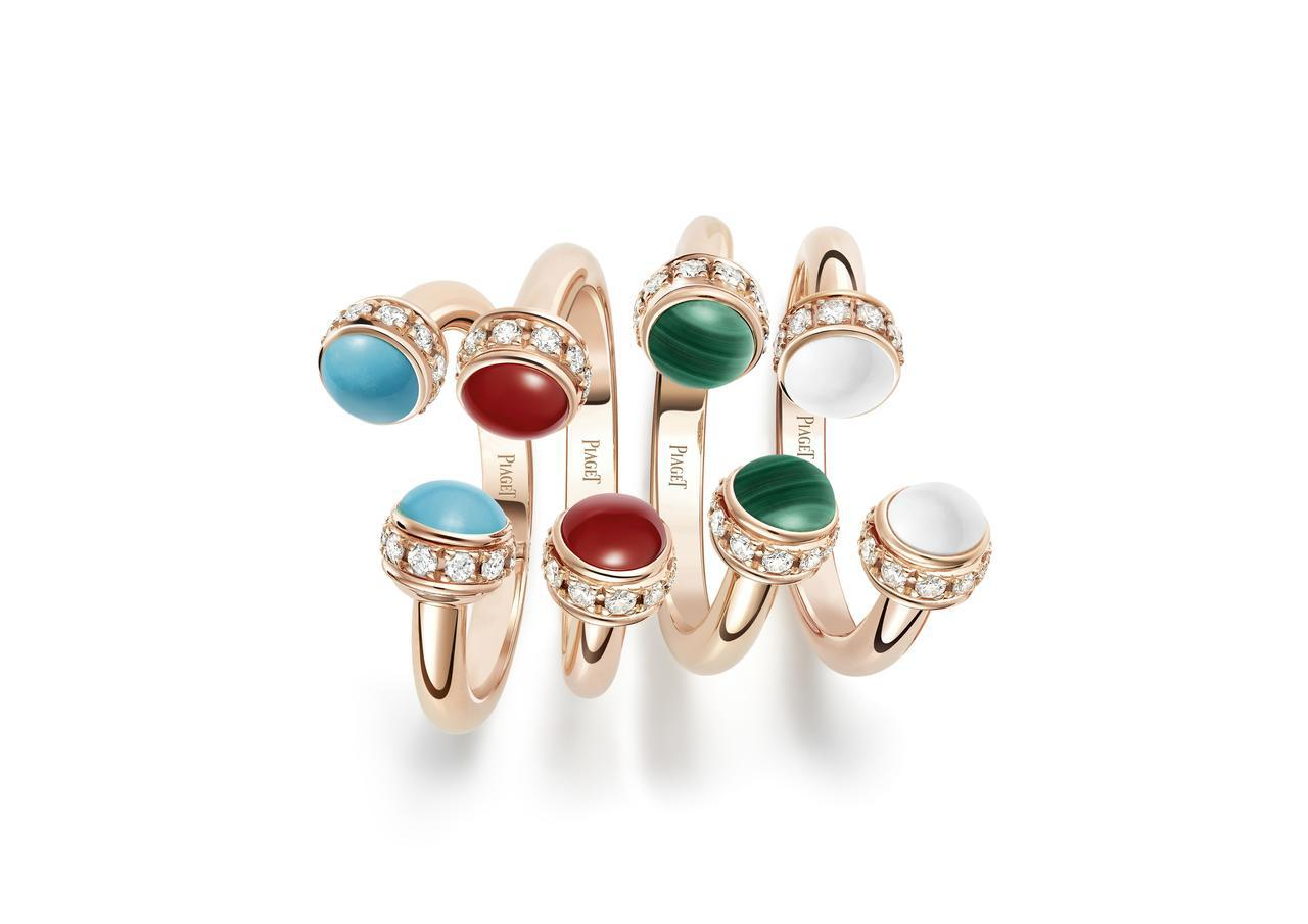(由左至右)伯爵Possession系列開放式戒指,綠松石款93,000元起,紅...