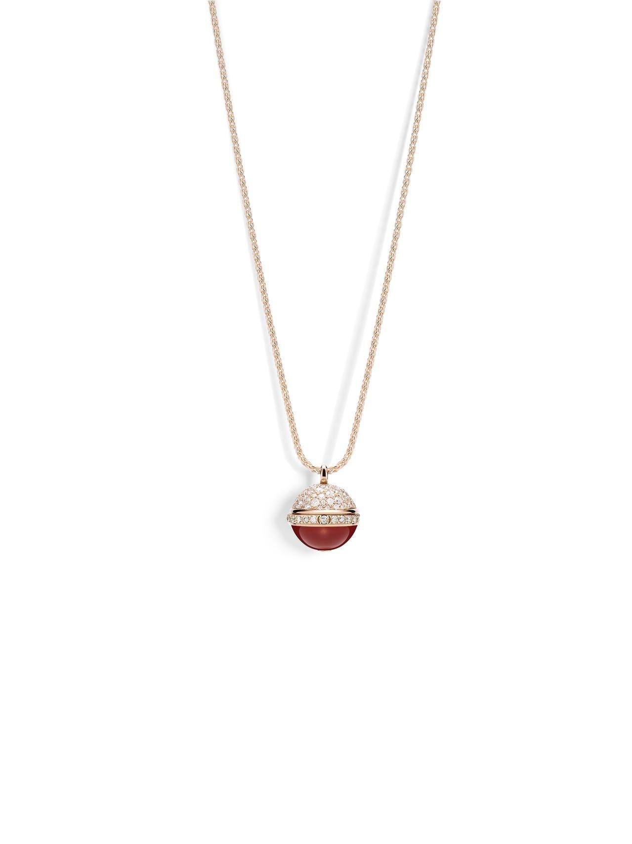 伯爵Possession系列墜鍊,18K玫瑰金雪花鑲嵌1.54克拉美鑽與紅玉髓,...