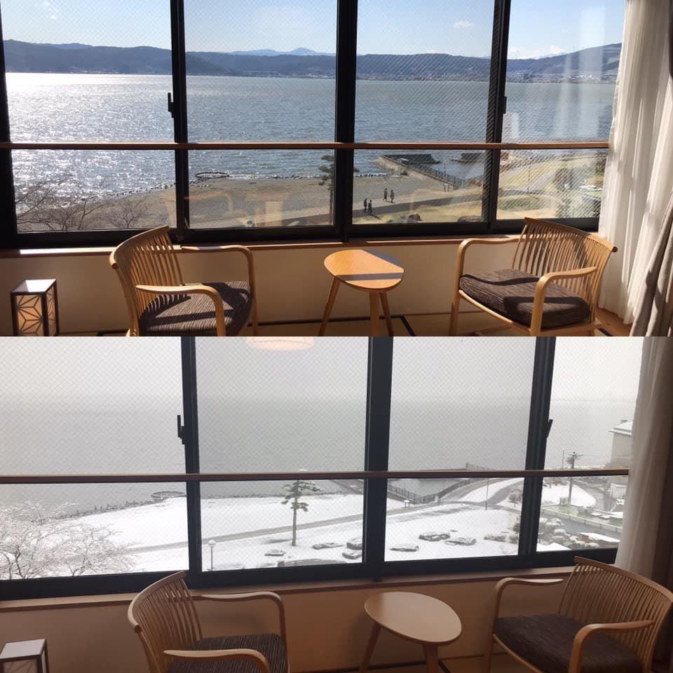 下塌長野縣諏訪湖畔的台灣遊客分享「平成最後的冷氣團」,昨日入住時還是上圖,一覺醒...