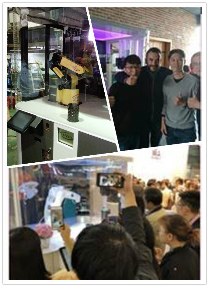 勵德「智慧機器人自動咖啡販賣機」,在東莞及上海專業展,造成轟動。 勵德科技/提供