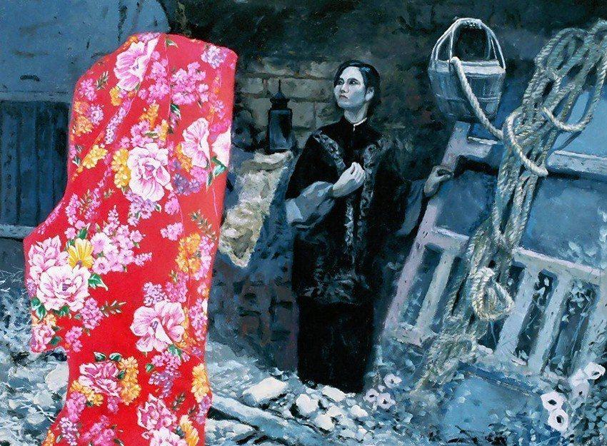 〈寒夜漫漫〉(台灣傳統婦女的宿命與人文反思),油畫,60F。 桃園市美術協會/提...