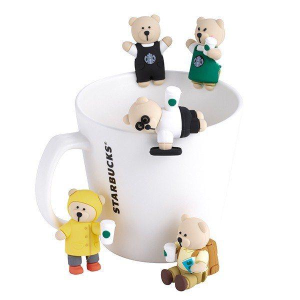 圖/星巴克杯緣子,共有5款小熊造型。截取自星巴克官網。