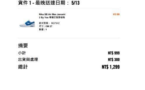 運動品牌Nike定價一雙4500元的訂製鞋,官網標示特價消息,訂製款只要999元...