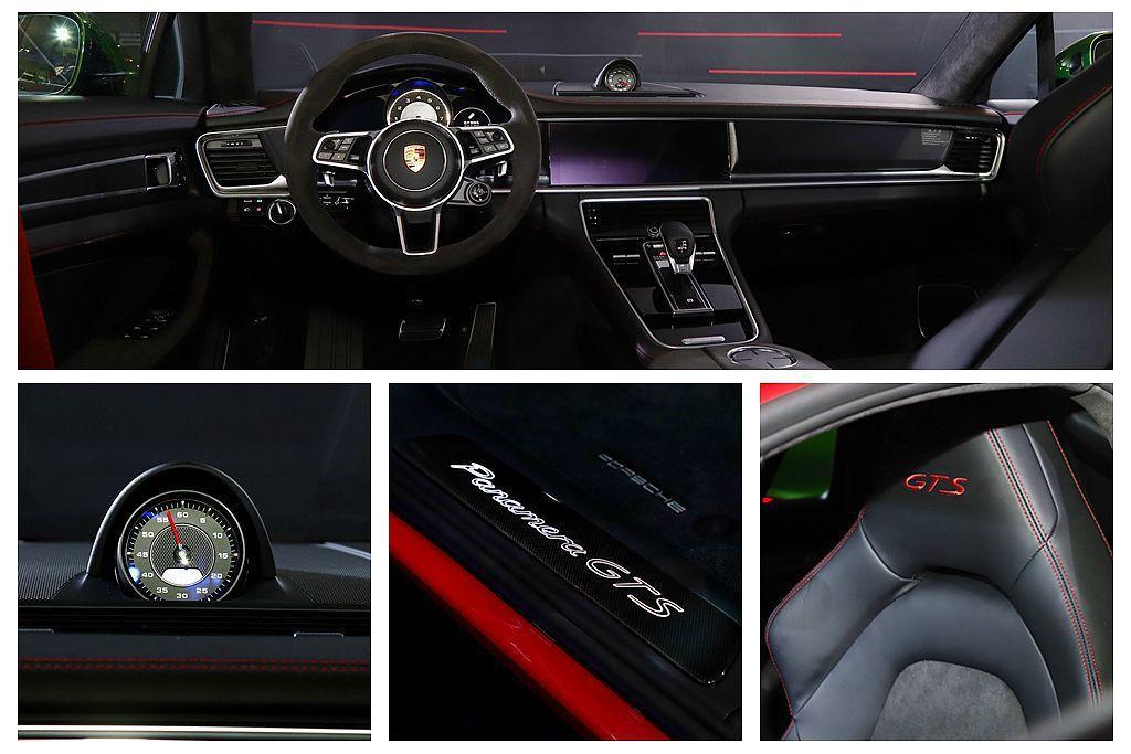 保時捷Panamera GTS車艙配置Alcantara麂皮包覆多功能跑車方向盤...