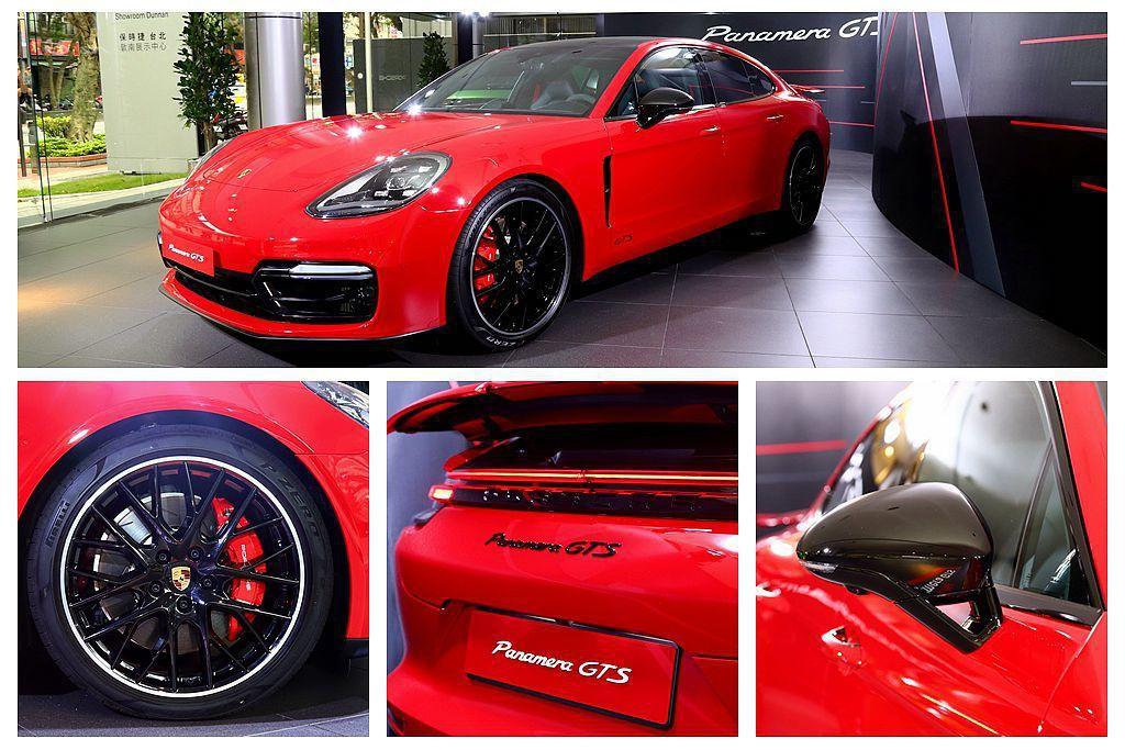 保時捷Panamera GTS車系具有全新黑色車頭設計、黑色車尾底部飾條及多項深...