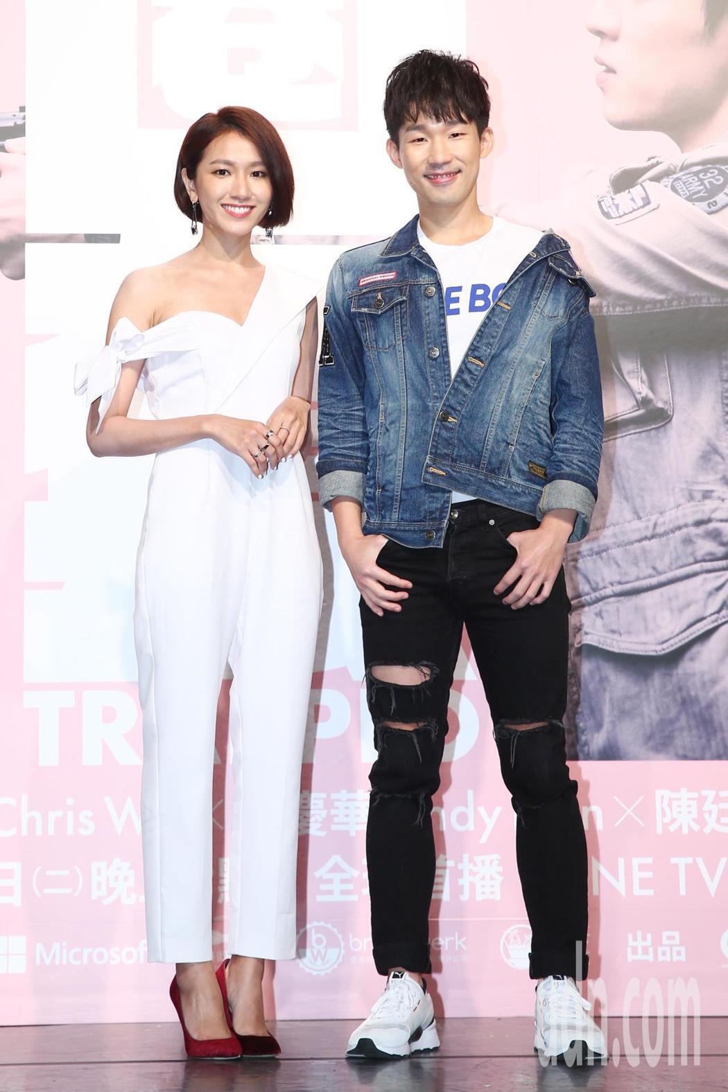 《HIStory3》新戲「圈套」舉行首映會,主要演員林意箴(左)、梅賢治出席宣傳