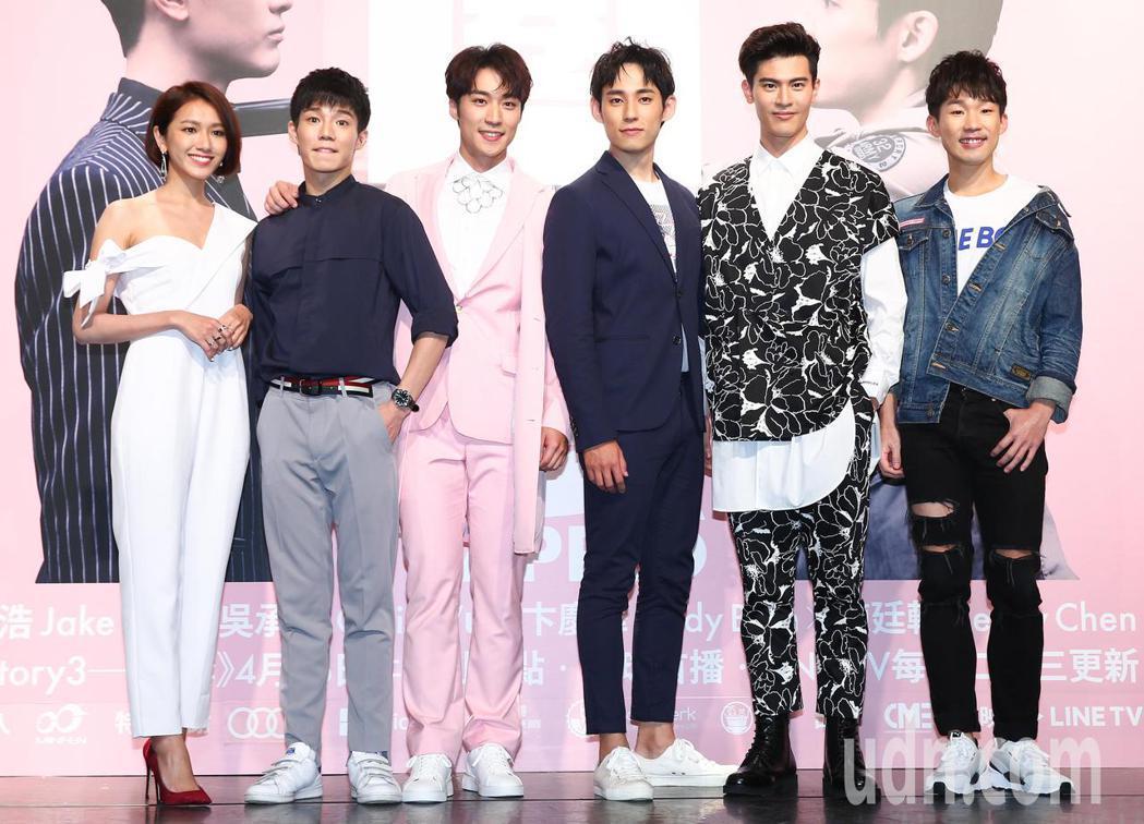 《HIStory3》新戲「圈套」舉行首映會,主要演員梅賢治(右起)、吳承洋、徐鈞...