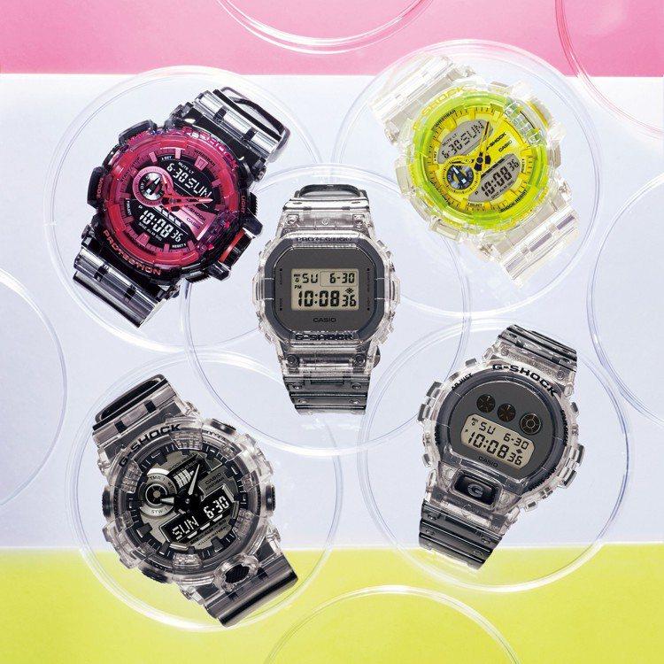 為了迎接春天的到來,G-Shock推出Clear Skeleton系列腕表。圖/...