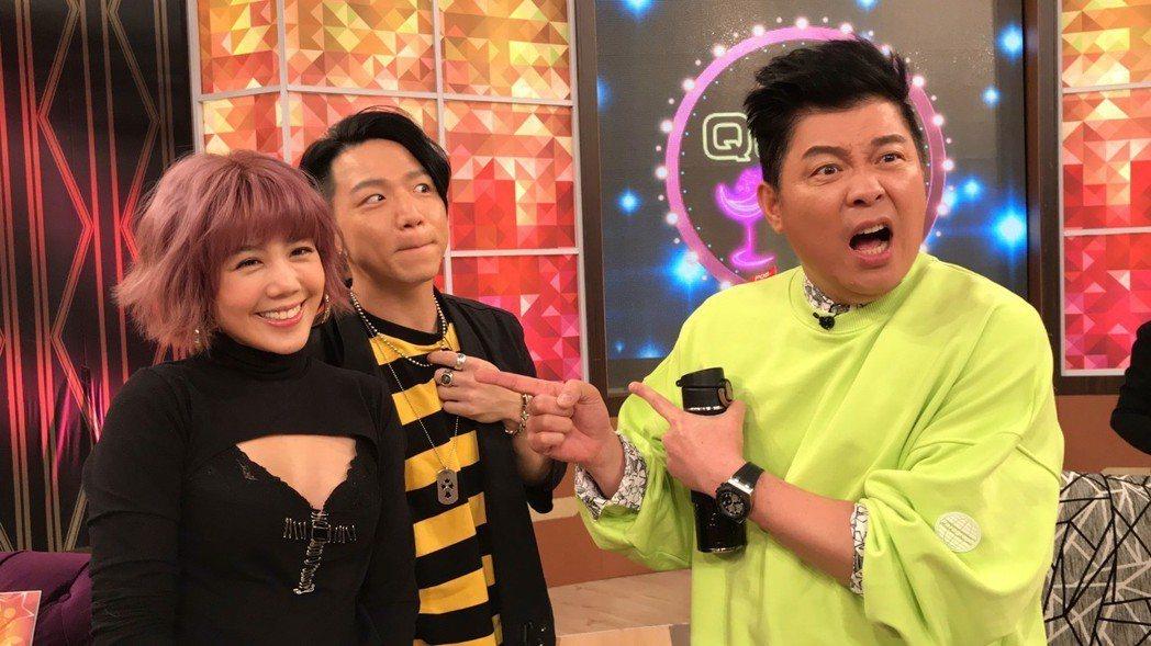 楊晨熙(左起)、大飛一起上曾國城節目,曾被兩人的幸福嚇到張嘴。記者葉君遠/攝影