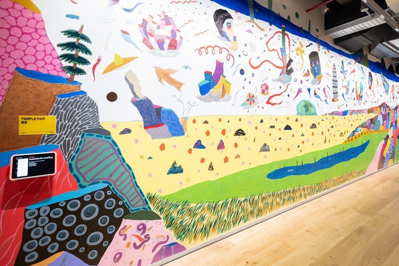 在地藝術家盧俊翰創作的藝術牆,以抽象及迷幻風的圖像來詮釋將現今台北的自然與城市景...