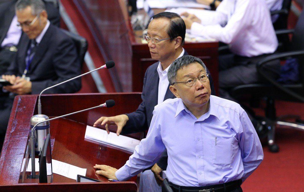 台北市長柯文哲在市議會表示,願意對過去言語不當之處,向社會道歉。 圖/聯合報系資...