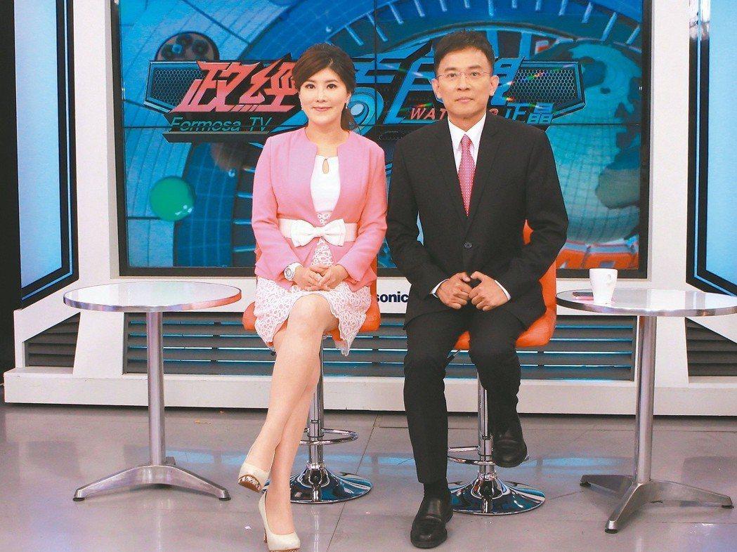 彭文正(右)和李晶玉的「政經看民視」節目爭議頗多。圖/民視提供